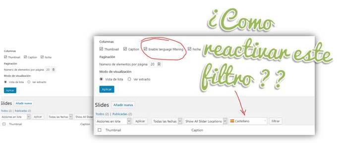 Como reactivar filtro Ceceppa Multilingua